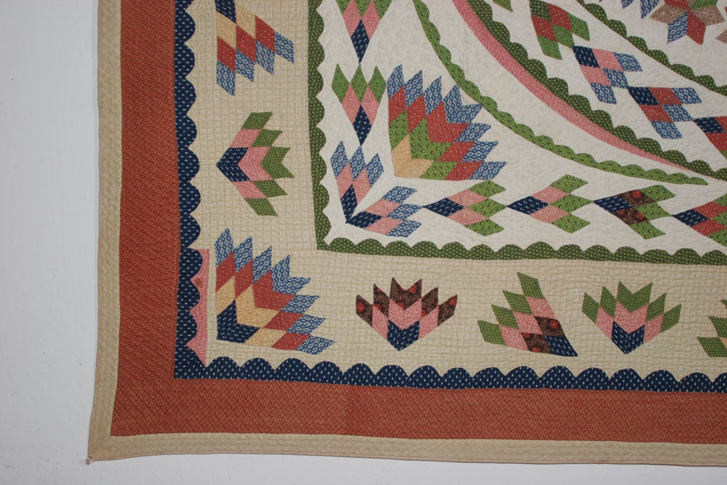 Calico Antique Quilt:  Seven-Point Blazing Star For Sale