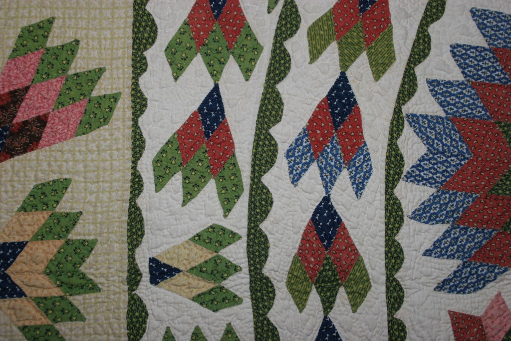 Antique Quilt:  Seven-Point Blazing Star For Sale 1