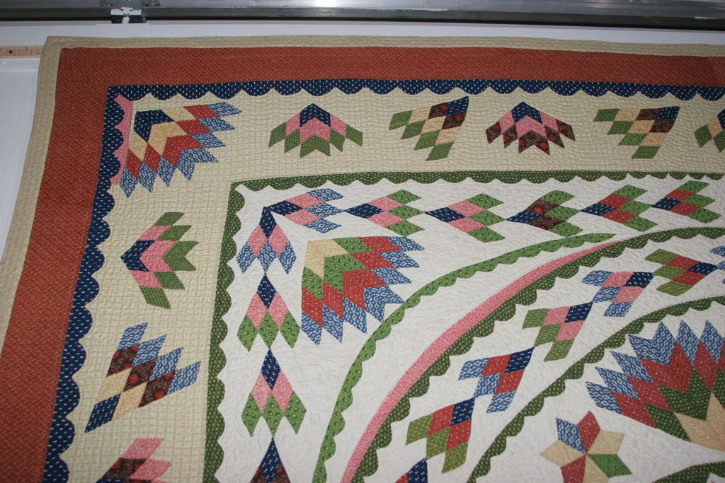 Antique Quilt:  Seven-Point Blazing Star For Sale 2