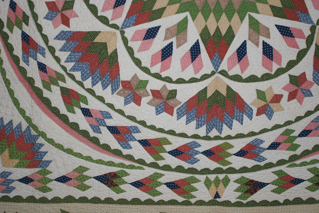 Antique Quilt:  Seven-Point Blazing Star For Sale 3