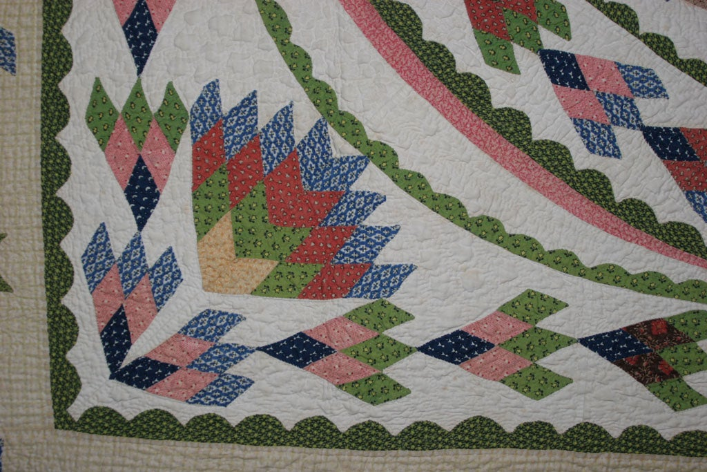 Antique Quilt:  Seven-Point Blazing Star For Sale 4