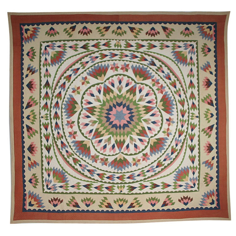 Antique Quilt:  Seven-Point Blazing Star For Sale