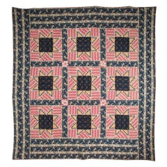 "Antique Pieced Quilt:  "" Feathered Stars"""
