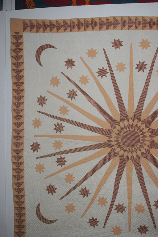 19th Century Antique Quilt:  Sun, Moon and Stars. For Sale