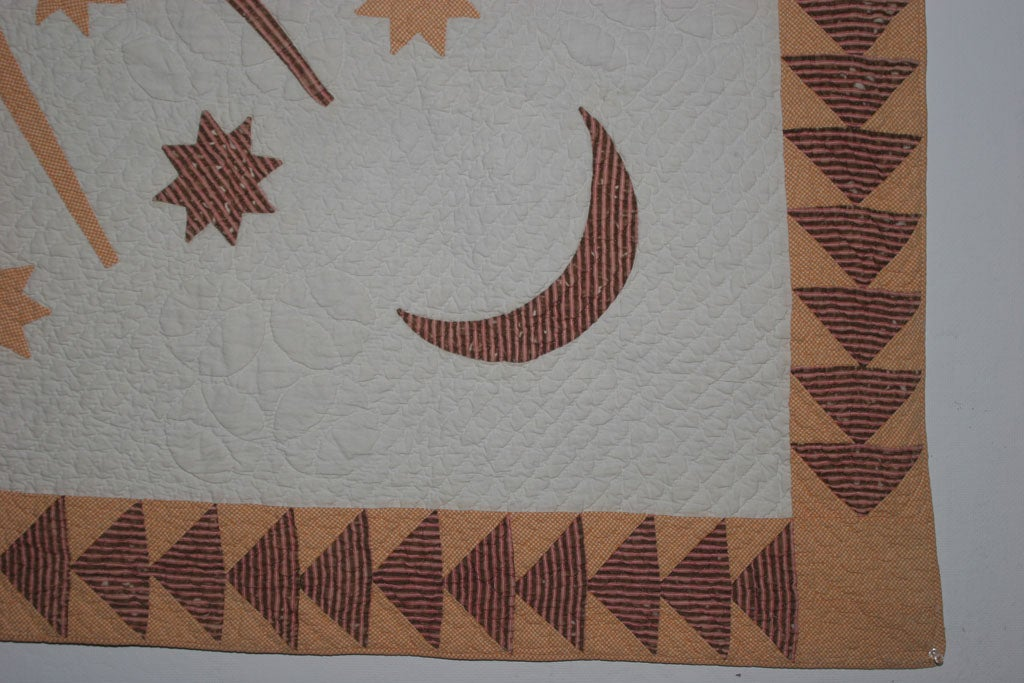 Antique Quilt:  Sun, Moon and Stars. For Sale 2