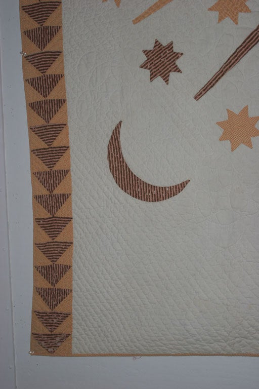 Antique Quilt:  Sun, Moon and Stars. For Sale 3