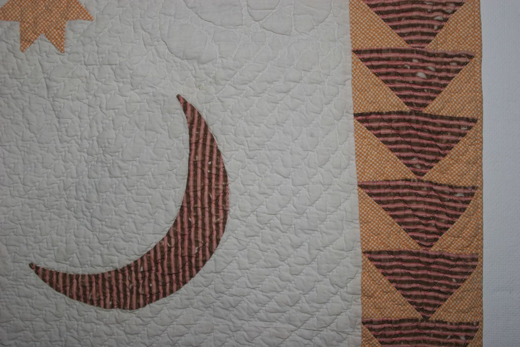 Antique Quilt:  Sun, Moon and Stars. For Sale 4