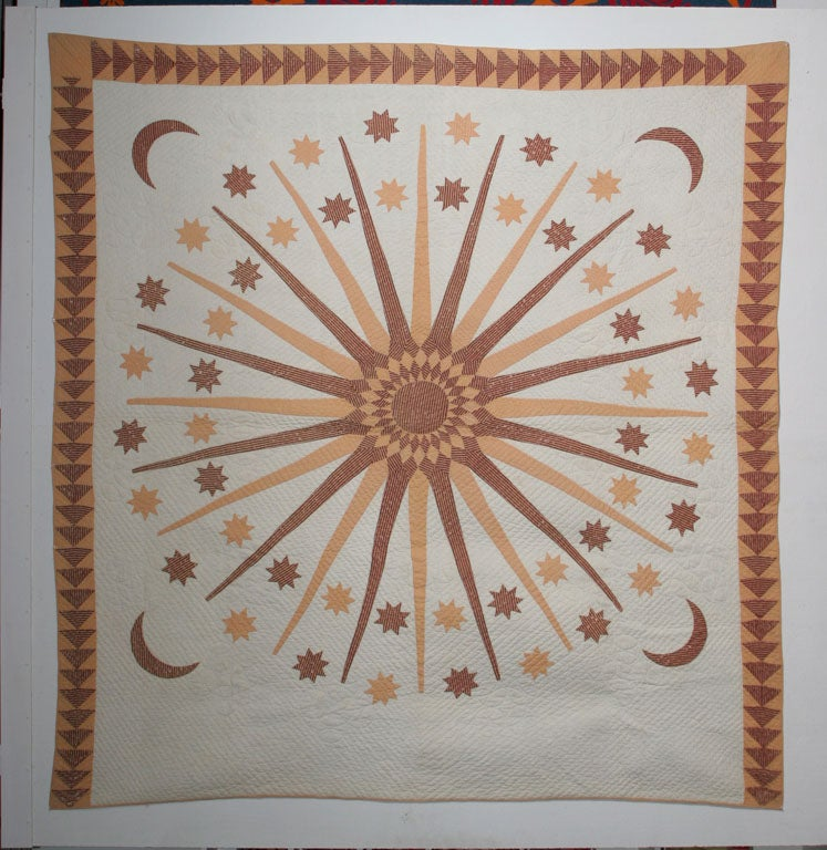 Rare folk art textile made in Vermont by an unusually creative yet anonymous quilt maker.  A