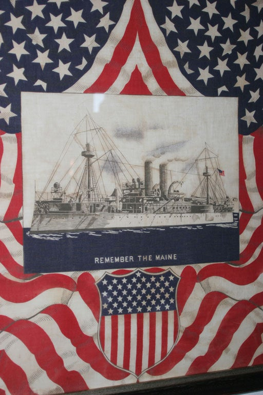 "American Framed Patriotic  Commemorative Textile:  ""REMEMBER THE MAINE"". For Sale"