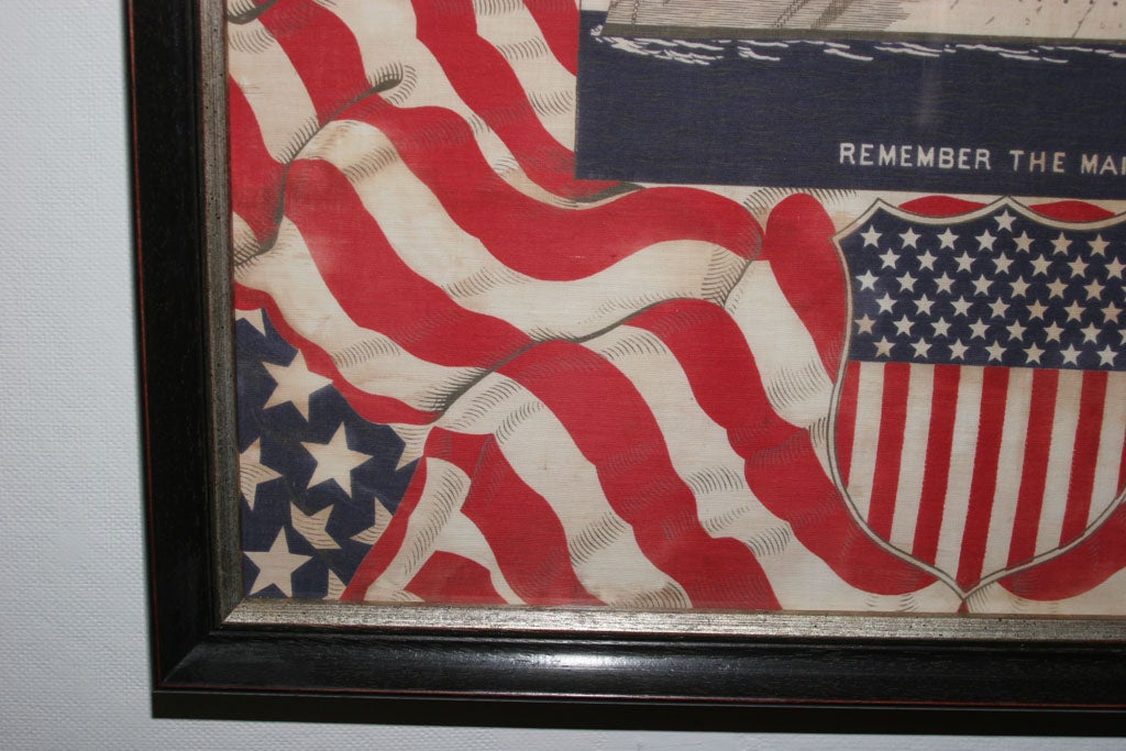 "19th Century Framed Patriotic  Commemorative Textile:  ""REMEMBER THE MAINE"". For Sale"