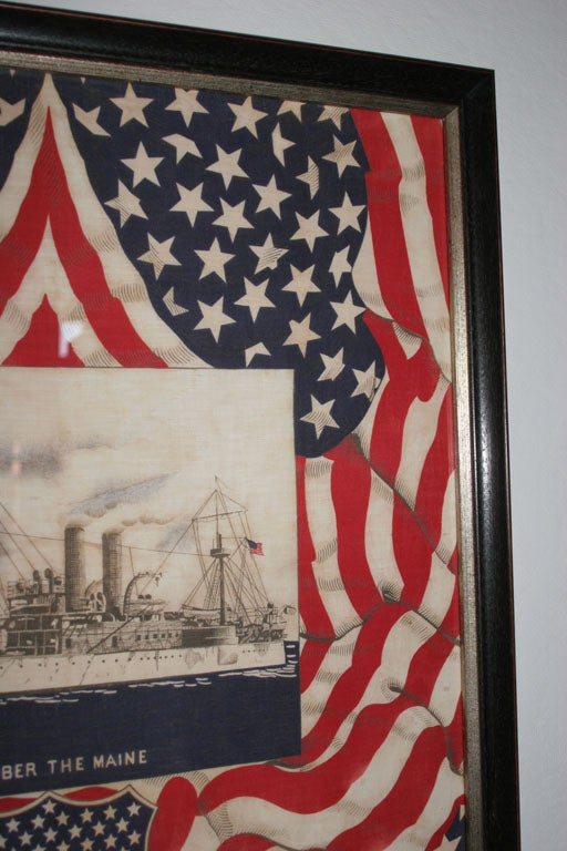 "Framed Patriotic  Commemorative Textile:  ""REMEMBER THE MAINE"". For Sale 1"