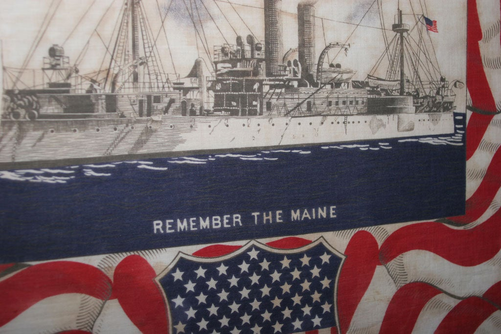 "Framed Patriotic  Commemorative Textile:  ""REMEMBER THE MAINE"". For Sale 2"