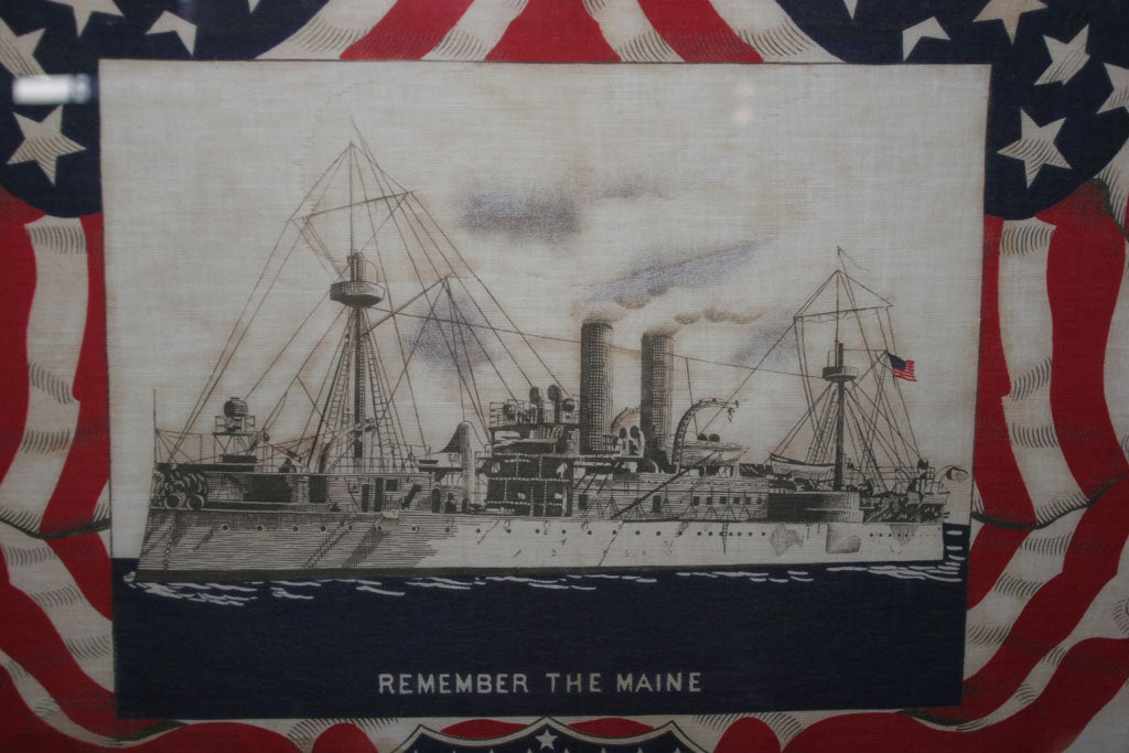 "Framed Patriotic  Commemorative Textile:  ""REMEMBER THE MAINE"". For Sale 3"