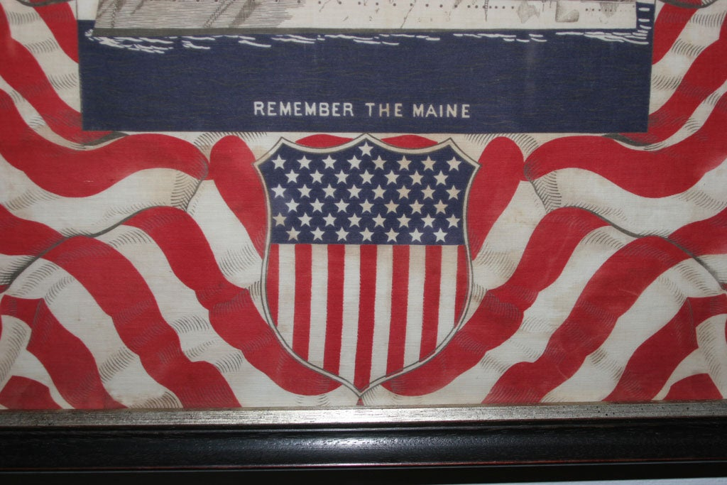 "Framed Patriotic  Commemorative Textile:  ""REMEMBER THE MAINE"". For Sale 4"