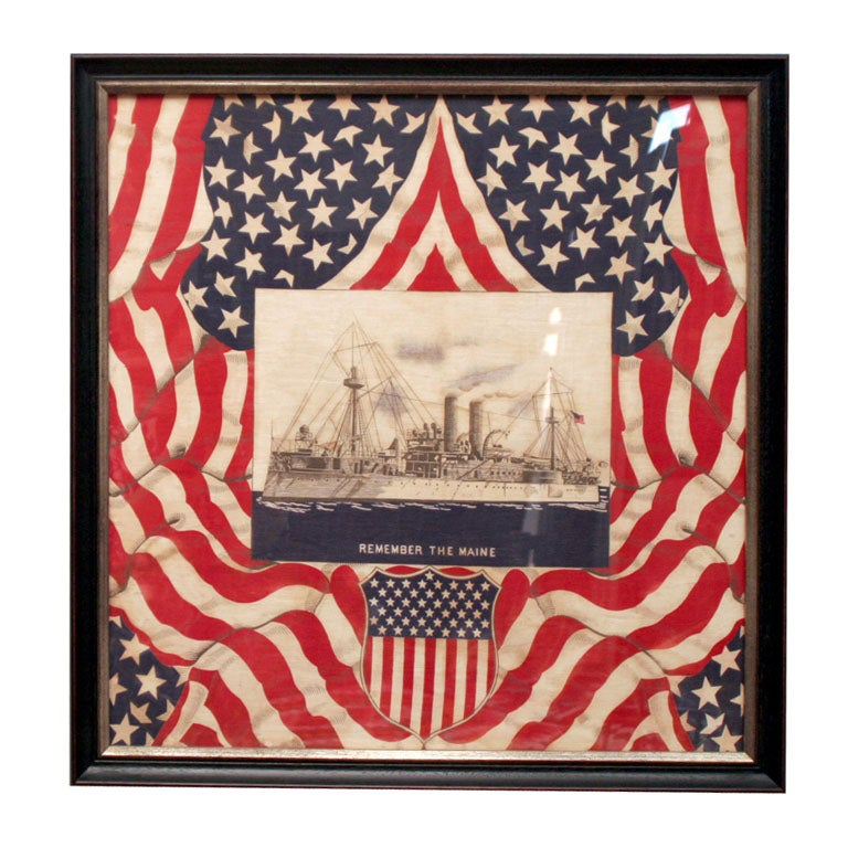 "Framed Patriotic  Commemorative Textile:  ""REMEMBER THE MAINE"". For Sale"