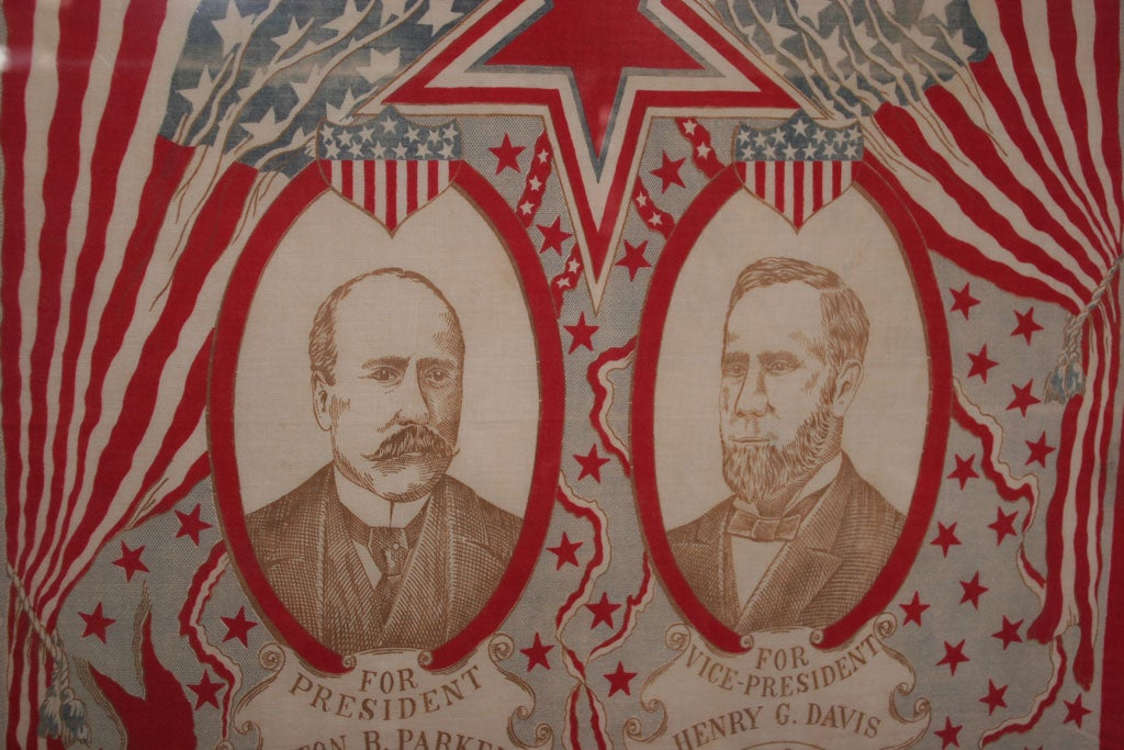 Campaign Bandanna:  Parker/Davis  1904. In Good Condition For Sale In New York, NY