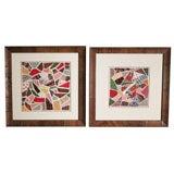 Pair of Framed Antique Applique Crazy Quilt Album Blocks