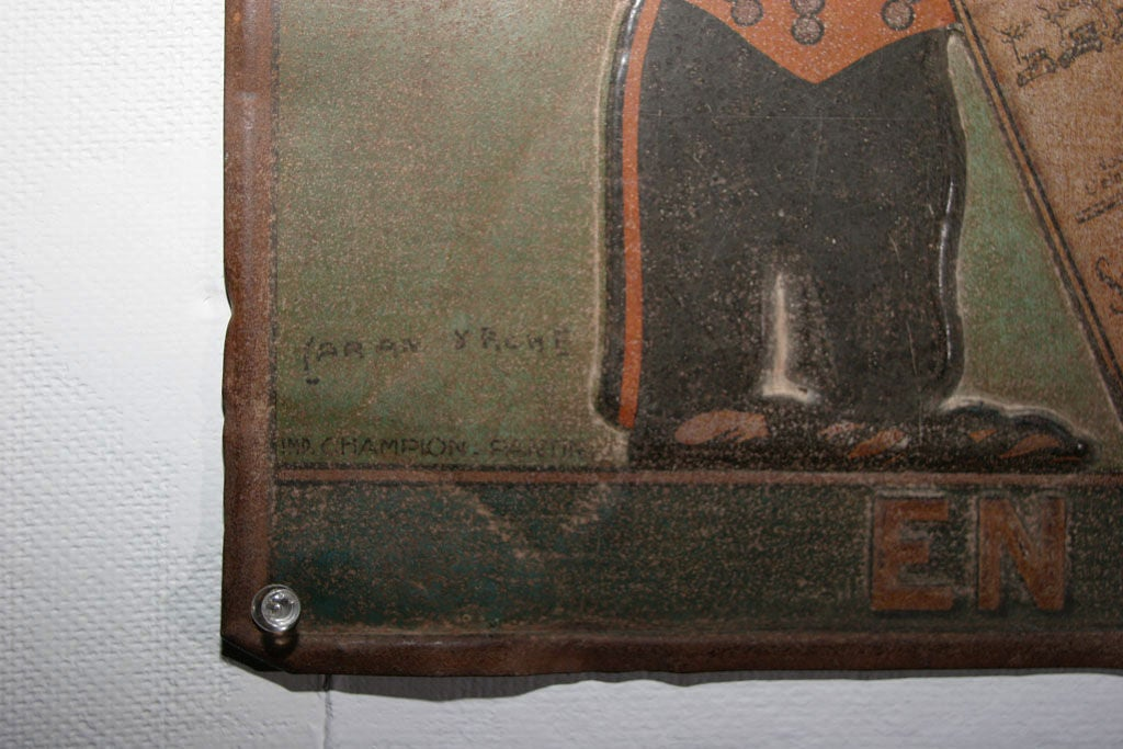 French Tin Trade Sign:  LE JOURNAL - EN VENTE ICI For Sale