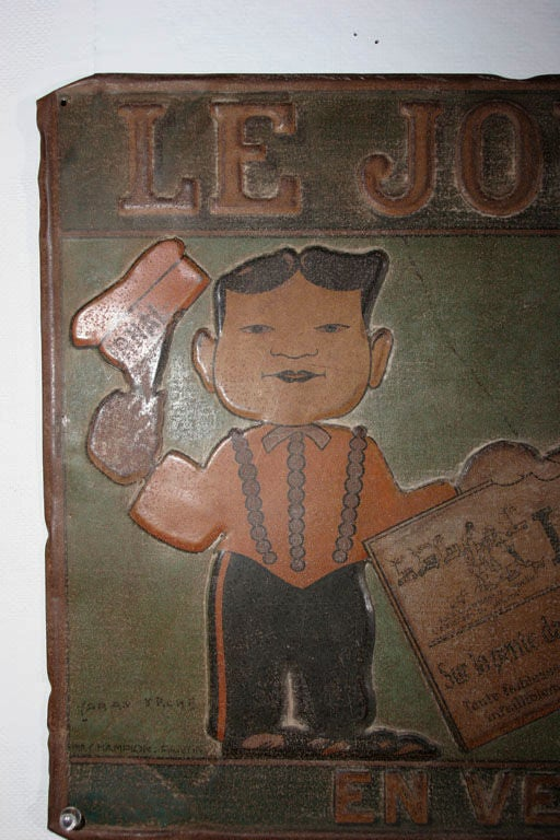 20th Century Tin Trade Sign:  LE JOURNAL - EN VENTE ICI For Sale