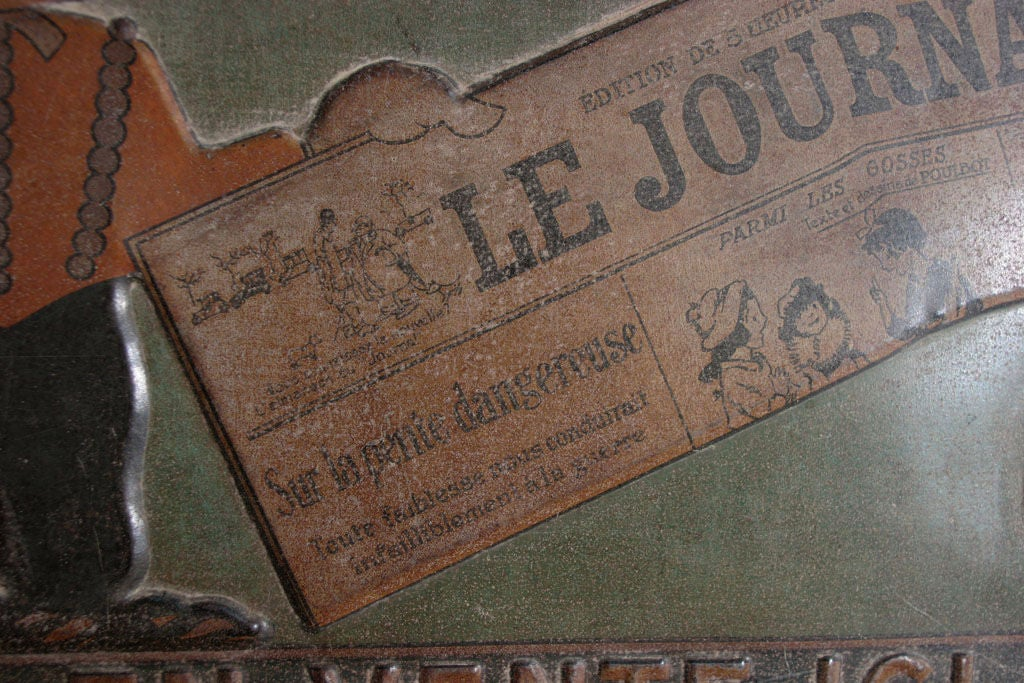 Tin Trade Sign:  LE JOURNAL - EN VENTE ICI For Sale 3