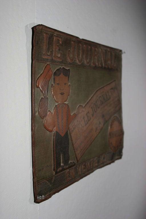 Tin Trade Sign:  LE JOURNAL - EN VENTE ICI For Sale 6