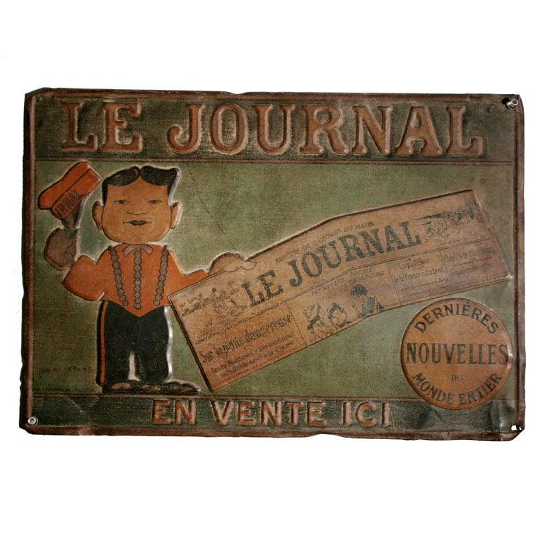 Tin Trade Sign:  LE JOURNAL - EN VENTE ICI