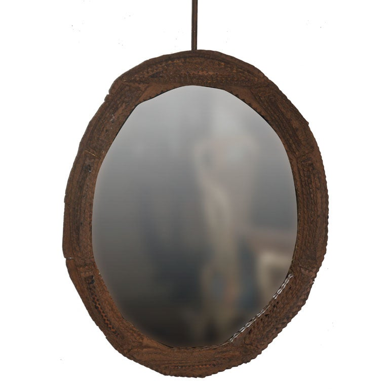 Oval Tramp Art Frame with Mirror