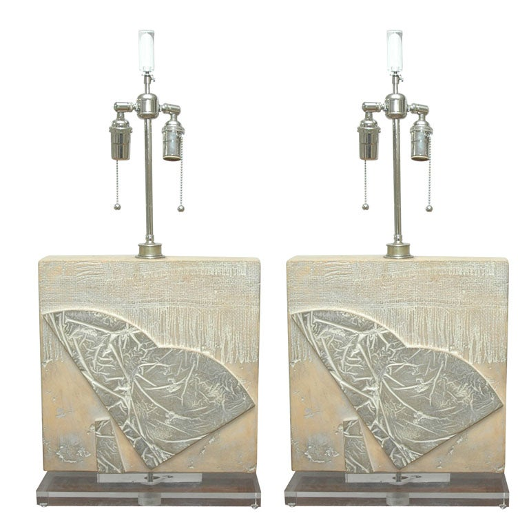 Pair of Carved Stone Table Lamps w/Faux Fossil Elements and Lucite Base