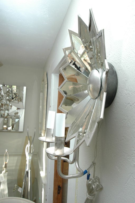 Pair of Mirrored Star Sconces image 5