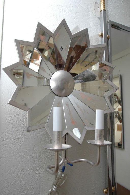 Pair of Mirrored Star Sconces image 6