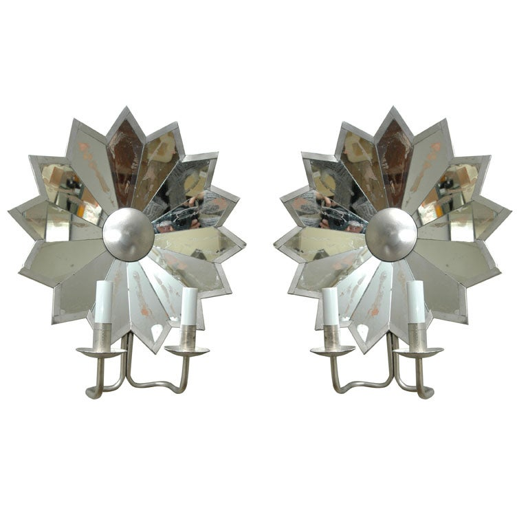 Pair of Mirrored Star Sconces