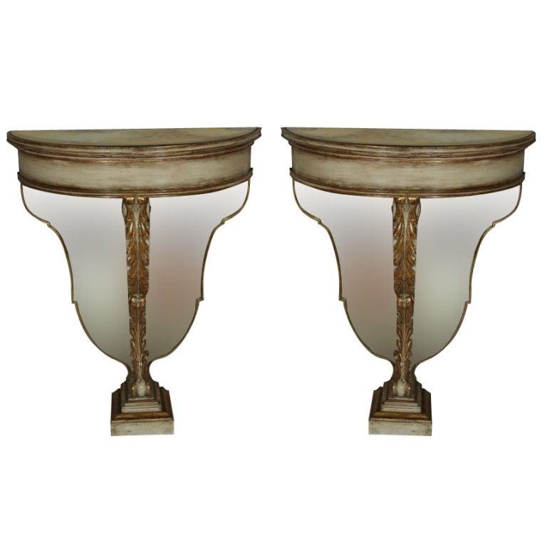 Pair Maison Jansen Polychrome Parcel Gilt Demilune Console Tables Fine Detail