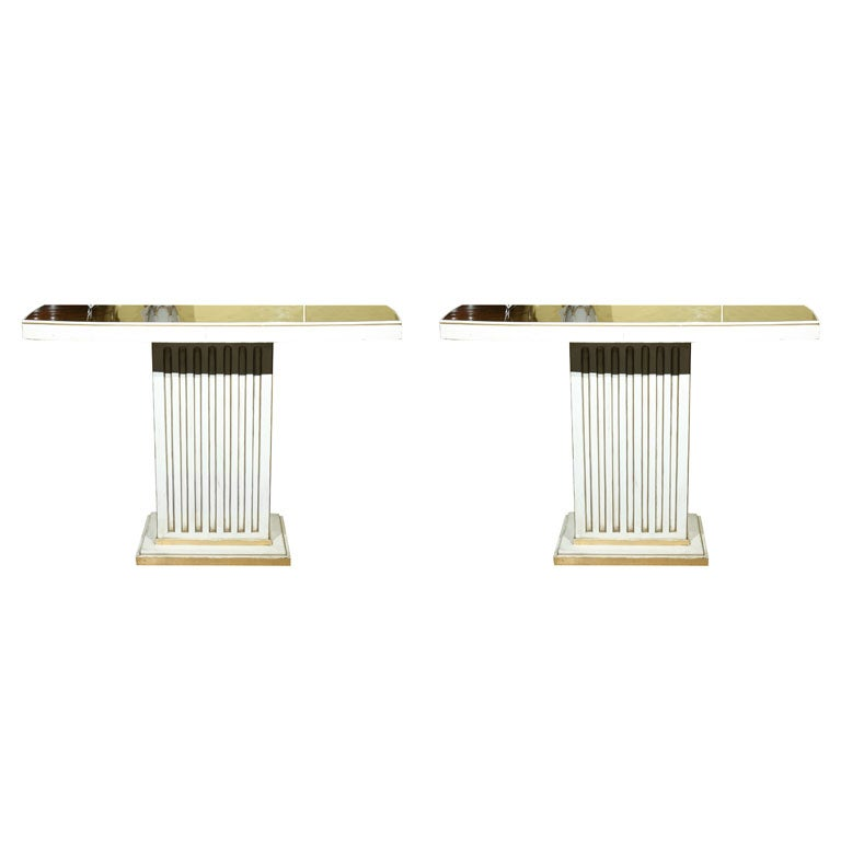 Pair of Maison Jansen Painted and Eglomise Console Tables