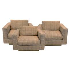Dunbar Club Chairs with Original Jack Lenor Larsen Upholstery 1970s