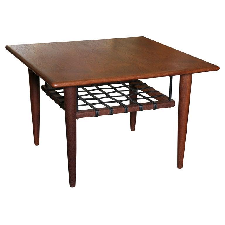 Fine Danish Teak Table W Strapped Floating Shelf At 1stdibs