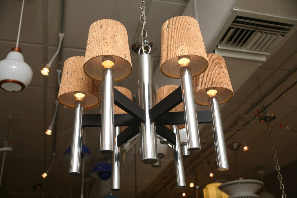 American Smart 1960s Chrome Tubular Chandelier with Cork Shades For Sale