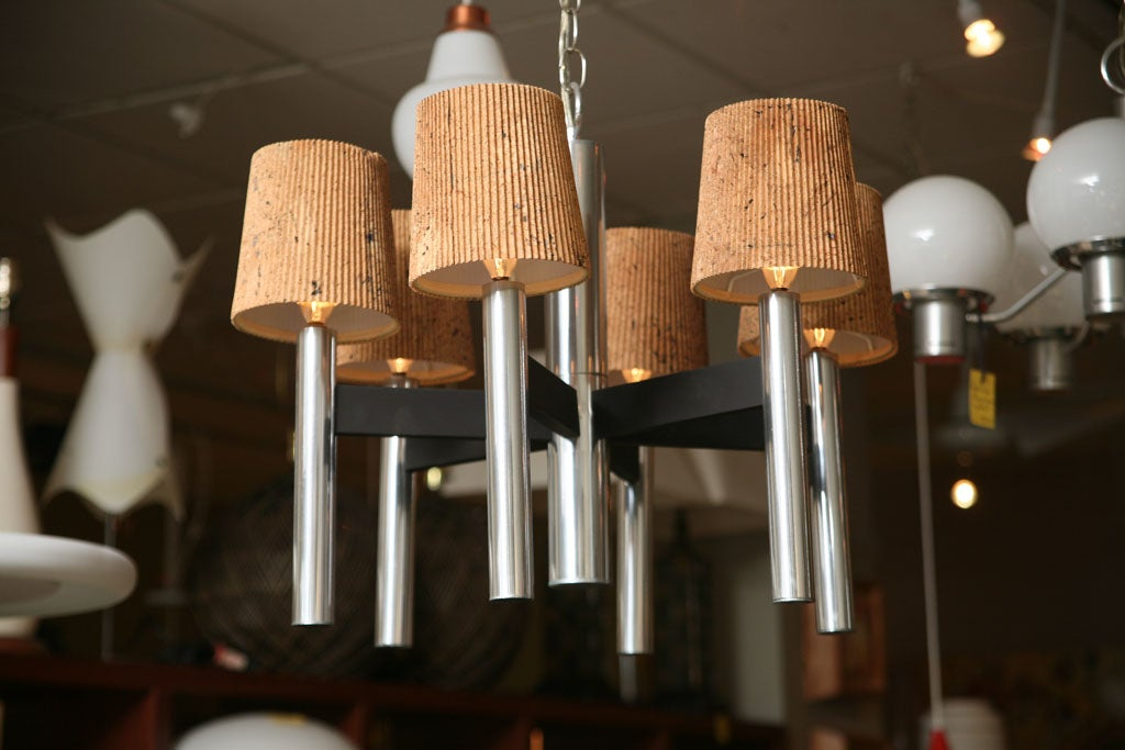 Mid-20th Century Smart 1960s Chrome Tubular Chandelier with Cork Shades For Sale