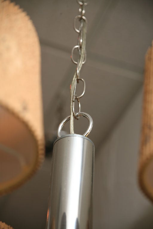 Smart 1960s Chrome Tubular Chandelier with Cork Shades For Sale 3