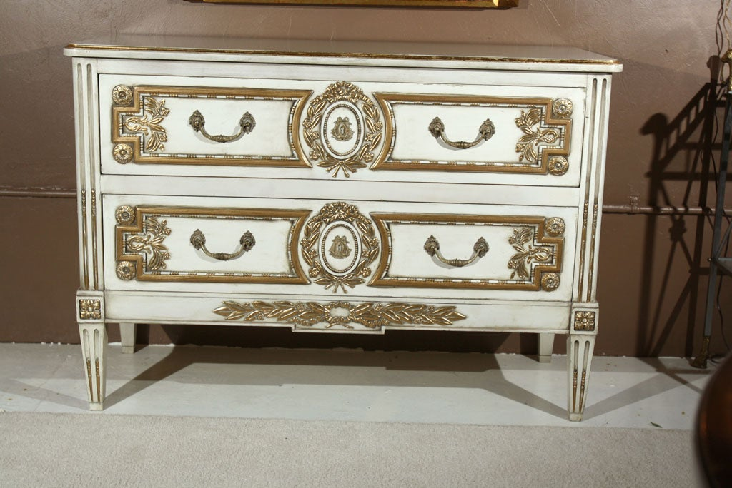 Hollywood Regency French Louis XVI Style Painted Commode Stamped Jansen For Sale