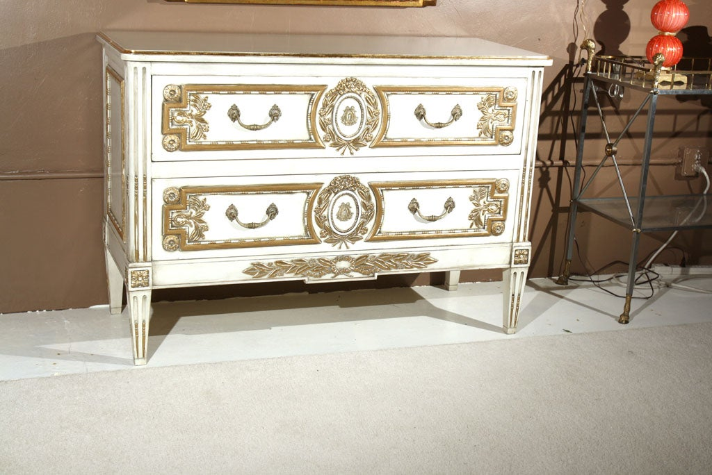 French Louis XVI Style Painted Commode Stamped Jansen In Good Condition For Sale In Stamford, CT