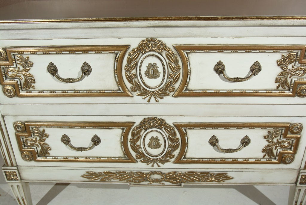 Bronze French Louis XVI Style Painted Commode Stamped Jansen For Sale