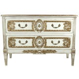 French Louis XVI Style Painted Commode Stamped Jansen