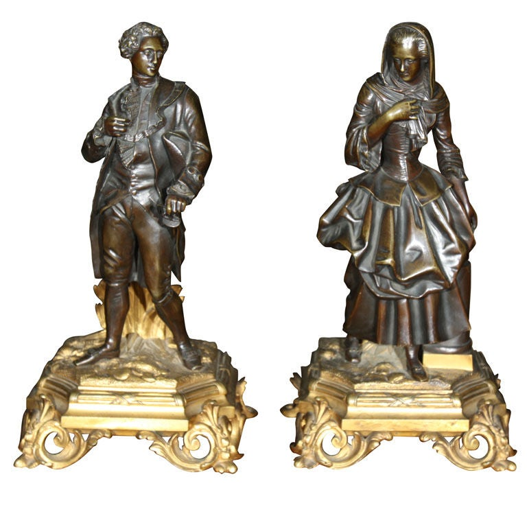 A   Pair of Patinated Bronze Figures of a Male and Female