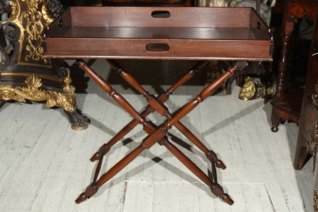 ANTIQUE BUTLERu0027S TRAY ON FOLDING STAND 2
