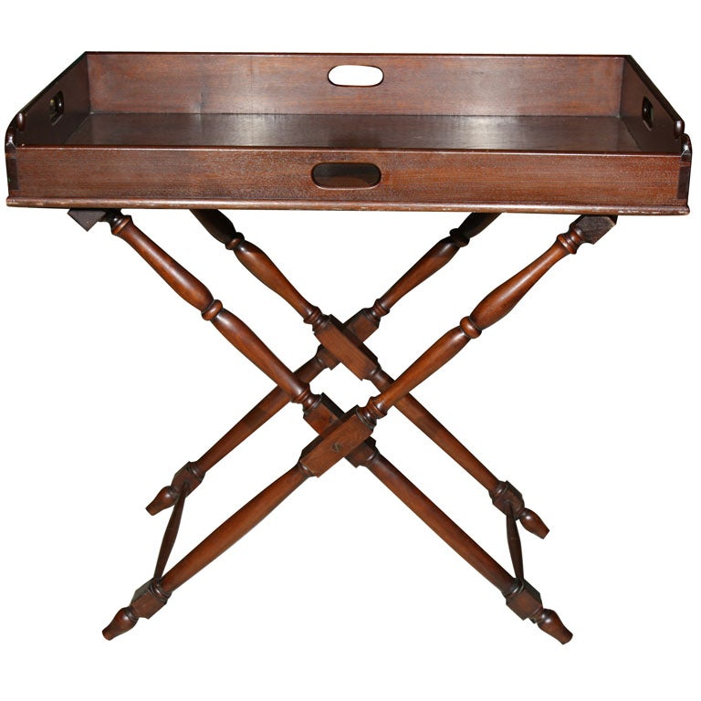 ANTIQUE BUTLERu0027S TRAY ON FOLDING STAND 1