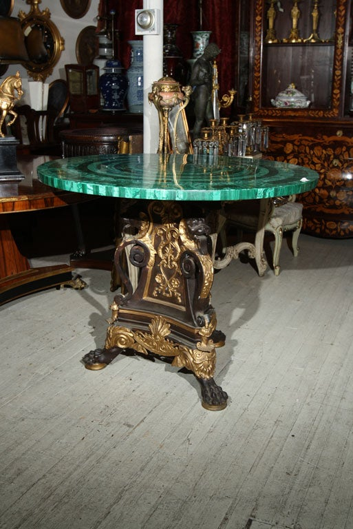 Unknown BRONZE TABLE  BASE//MALACHITE TABLE TOP (TOP SOLD)
