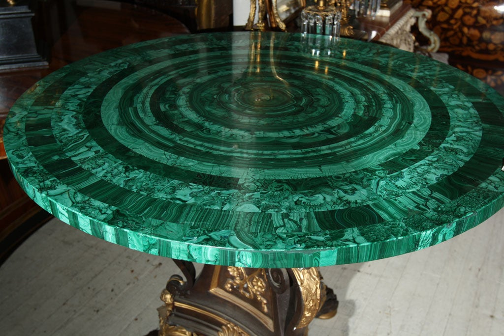 19th Century BRONZE TABLE  BASE//MALACHITE TABLE TOP (TOP SOLD)
