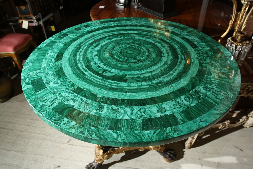 BRONZE TABLE  BASE//MALACHITE TABLE TOP (TOP SOLD) 1