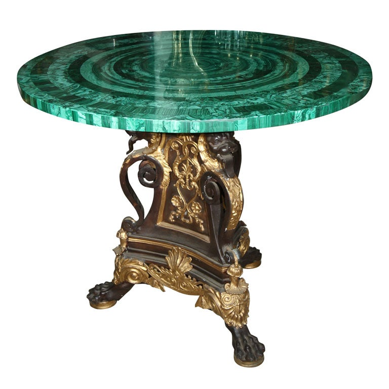 BRONZE TABLE  BASE//MALACHITE TABLE TOP (TOP SOLD)