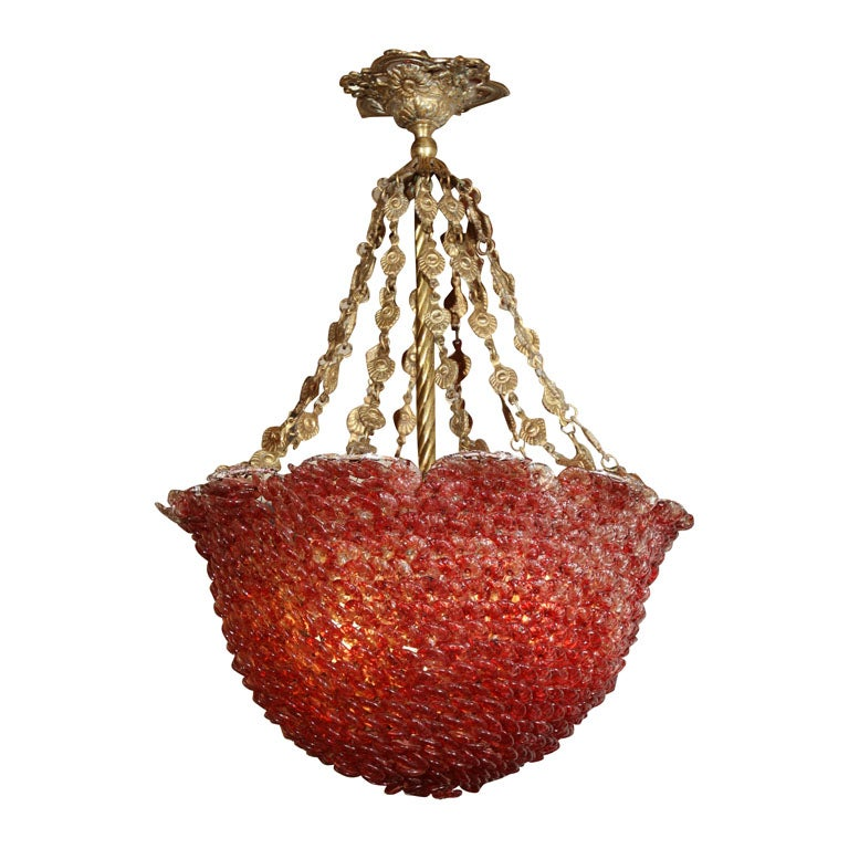 Red Glass Beaded Chandelier